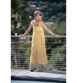 Annabell Blümchenkleid gelb lang